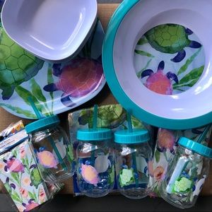 Sea Turtle Melamine Party Pack For Four